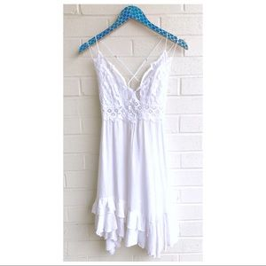Free People One Adella White Lace Slip Dress